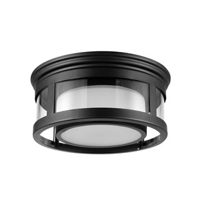 Globe Electric Brisbane 1-Light Outdoor Flush Moun Matte Black with Frosted Glass Shade