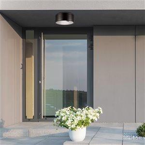Globe Electric Teagan 1-Light Outdoor Indoor Flush Mount Ceiling Light - Dark Bronze