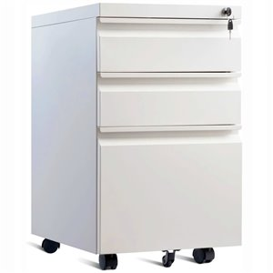 TygerClaw 3-Drawer Wheeled Mobile File Cabinet with Lock - 15.6-in x 19.7-in - White