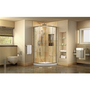 DreamLine Prime 33-in x 33-in x 74-3/4-in H Corner Sliding Shower Enclosure and SlimLine Shower Base Kit, Clear Glass