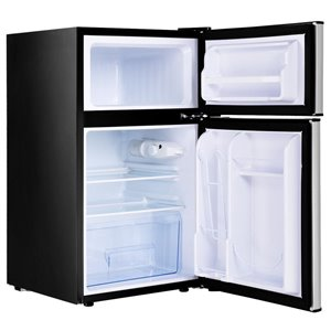 RCA 3.2 cu ft Freestanding 2-Door Fridge with Freezer Compartment - Stainless Steel