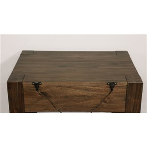 WHI Rustic Nightstand with 2 USB Ports - 24-in - Acacia Wood with Walnut Finish