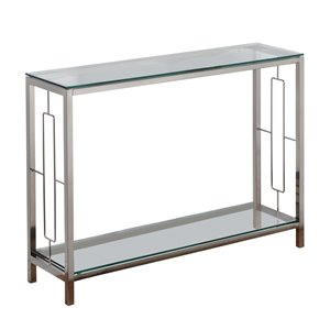 !nspire Contemporary 2-Tier Console Table - 12-in x 30-in - Glass and Metal
