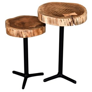 !nspire Accent Table Set - Acacia Wood and Black Metal - Set of 2