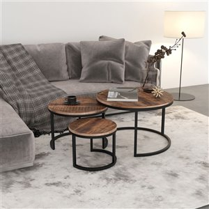 !nspire Coffee Table Set - Mango Wood and Black Metal - Set of 3