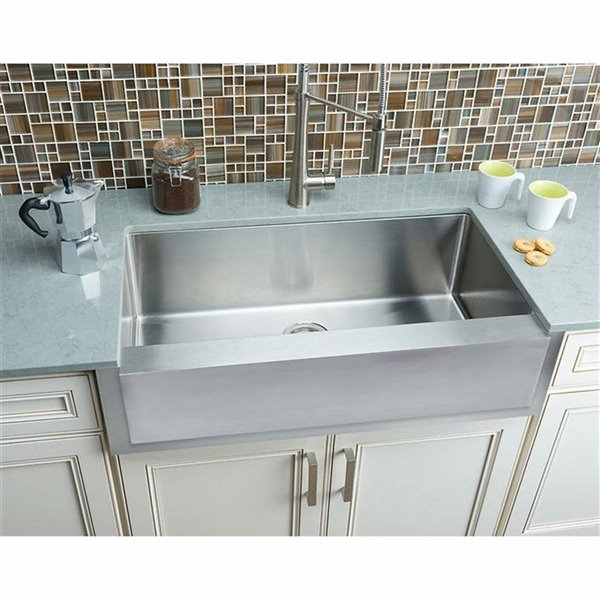 Hahn Farmhouse Kitchen Sink Single Bowl 36 In Stainless Steel Lowe S Canada