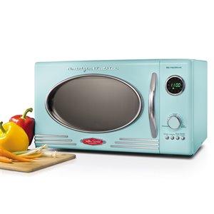 Nostalgia Retro 800-Watt Countertop Microwave Oven - Aqua - 0.9-cu ft