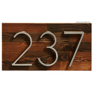 PRO-DF Rustic Small Address Plaque - 7-in x 13-in - Brown Wood
