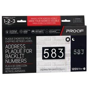 PRO-DF Contemporary Small Address Plaque - 7-in x 13-in - Black Steel