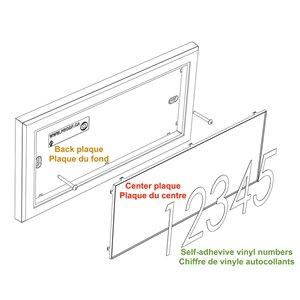 PRO-DF Modern Rectangular Address Plaque Kit - 7-in x 14-in - White and Black Plastic
