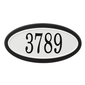 PRO-DF Classic Oval Address Plaque Kit - 7.75-in x 15-in - White and Black Plastic