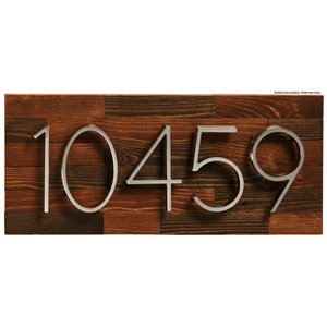 PRO-DF Rustic Large Address Plaque - 8-in x 19-in - Brown Wood