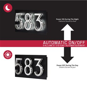 PRO-DF Contemporary LED Lighted Large Address Plaque - 7-in x 18-in - Black Steel