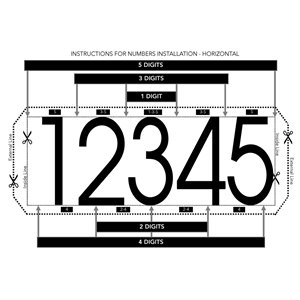 PRO-DF Economic Address Plaque Kit - 5-in x 12-in - White and Black Plastic