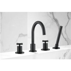 Ancona Ava Two-Handle Roman Tub Bathroom Faucet - Matte Black