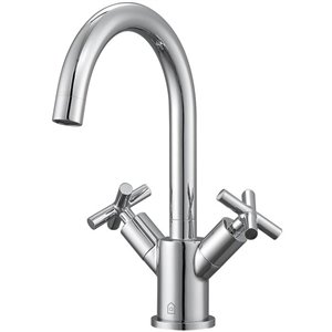 Ancona Ava Series Single-Hole Cross-Handle Bathroom Faucet - Chrome