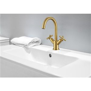 Ancona Ava Series Single-Hole Cross-Handle Bathroom Faucet - Brushed Gold