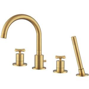Ancona Ava Two-Handle Roman Tub Bathroom Faucet - Brushed Gold