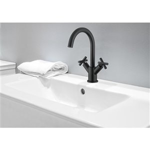 Ancona Ava Series Single-Hole Cross-Handle Bathroom Faucet - Matte Black
