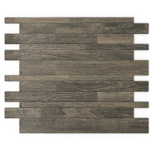 SpeedTiles Murano Metal Peel and Stick Wall Tile - Linear Pattern - 12.2-in x 9.72-in - Natural Wood Effect