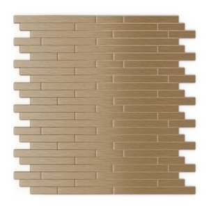 SpeedTiles Kellie Metal Peel and Stick Wall Tile - Linear Pattern - 12.09-in x 11.97-in - Light Copper