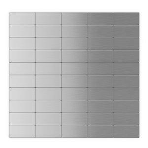 SpeedTiles Subway Metal Peel and Stick Wall Tile - Brick Pattern - 12.2-in x 11.81-in - Stainless Steel