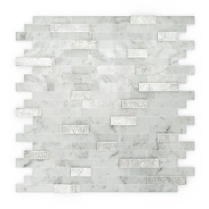 SpeedTiles Camarillo Natural Stone Peel and Stick Wall Tile - Linear Pattern - 11.77-in x 11.57-in - White and Grey