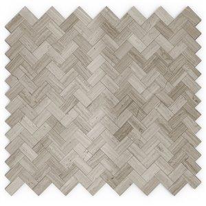 SpeedTiles Maidenhair Natural Stone Peel and Stick Wall Tile - Herringbone Pattern - 12.09-in x 11.65-in - Grey/Beige