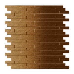 SpeedTiles Wally Metal Peel and Stick Wall Tile - Linear Pattern - 12.09-in x 11.97-in - Dark Copper