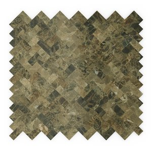 SpeedTiles Moka Natural Stone Peel and Stick Wall Tile - Herringbone Pattern - 12.09-in x 11.65-in - Mocha