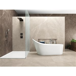 Mono Serra Ceramic Tile 12-in x 24-in Bayona Ivory Natural 11.63 sq. ft. / case (6 pcs / case)