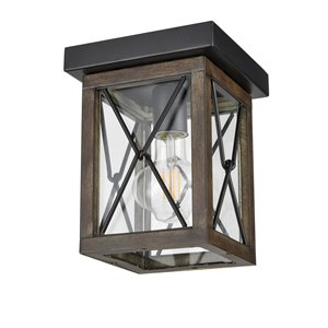 DVI County Fair Outdoor Flush-Mount Light - 1-Light - 6.75-in - Black and Brown