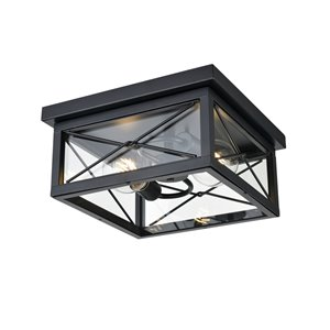 DVI County Fair Outdoor Flush-Mount Light - 2-Light - 12.25-in - Black