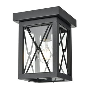 DVI County Fair Outdoor Flush-Mount Light - 1-Light - 6.75-in - Black