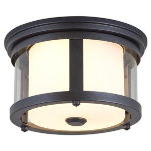 DVI Niagara Outdoor Flush-Mount Light - 2-Light - 12-in - Hammered Black