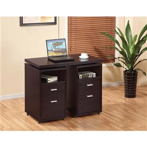 Brassex Office Desk with Expandable Side & Castors, Dark Cherry