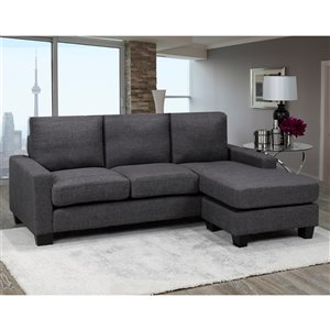 Brassex Hilton Sectional with Reversible Chaise Contemporary/Modern - Grey