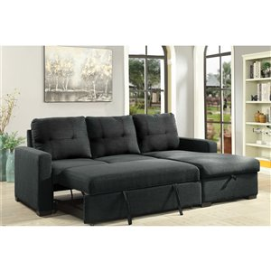 Brassex Boris Sectional with Pull Out Bed & Storage Chaise Contemporary/Modern - Grey