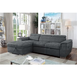 Brassex Bentley Sectional with Pull Out Bed & Storage Chaise - Grey
