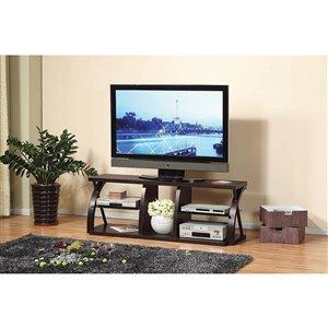 Brassex 60-in TV Stand with 4 Open Storage Compartments - Dark Cherry