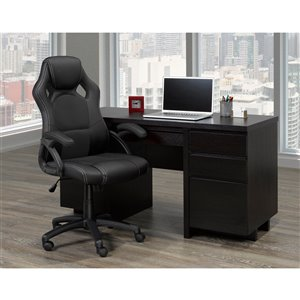 Brassex Ergonomic High-Back Executive Office Chair with Wheels Black