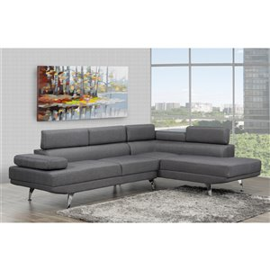 Brassex Aria Sectional with Adjustable Arms and Back - Contemporary/Modern - Grey