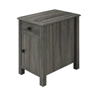 Telephone Stand with Storage Drawer in Grey Finish - 20-in x 24-in x 13.5-in