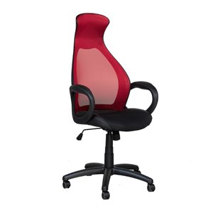 Brassex High-Back Executive Chair with Wheels Black and Red
