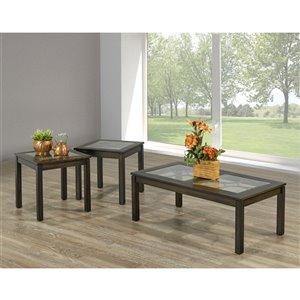 Brassex Vienna 3-Piece Contemporary Coffee Table Set - Dark Walnut