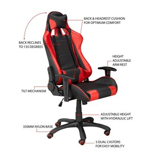 Brassex Fresno Gaming Chair with Tilt and Recline Black/Red