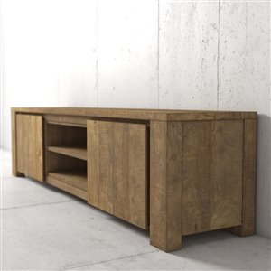 Urban Woodcraft Manila TV Stand - 71-in - Natural Asian Hardwood
