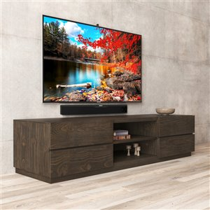 Urban Woodcraft Catania TV Stand - 75-in - Pine - Salvaged Espresso