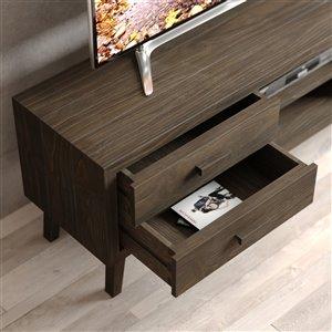 Urban Woodcraft Citation TV Stand - 66.5-in - Pine - Salvaged Espresso