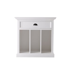 NovaSolo Halifax Grand Bedside Table with Dividers - Classic White - 31-in x 32-in x 17-in